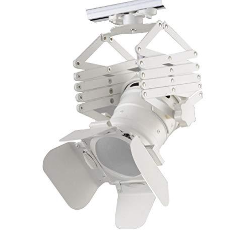 Faretto Binario interno E27, Lunghezza Regolabile, Luce per cinema, Tenda, studio, colore: bianco
