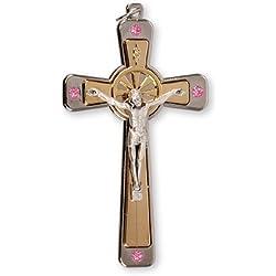 Rose Cristal de Swarovski 8.9cm Crucifix Pendentif Croix Charm Médaille avec Amour en étain Broche Jeton