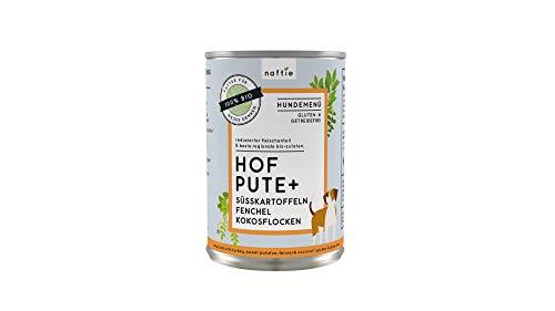 naftie Bio Hundefutter Hof Pute+ | Nassfutter Menü mit Pute, Süßkartoffeln, Fenchel und Kokosflocken | Getreidefrei | Glutenfrei | 800 g Dose (Bio-putenfleisch)