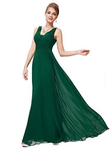 Ever-Pretty Robe de Soiree en Double V-col de Style Empire 40 Vert Foncé