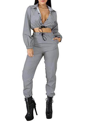 Reflektierende Zweiteilige Set Drawstring Crop Top und Hosen Hip Hop Club Festival Outfit Trainingsanzug Jogger Anzug, Grau, S