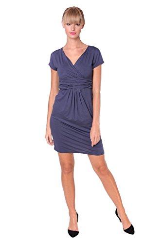 Mini-Kleid V-Ausschnitt Elegant in 6 Farben Gr. XS S M L XL XXL 3XL, 8415 Grafit