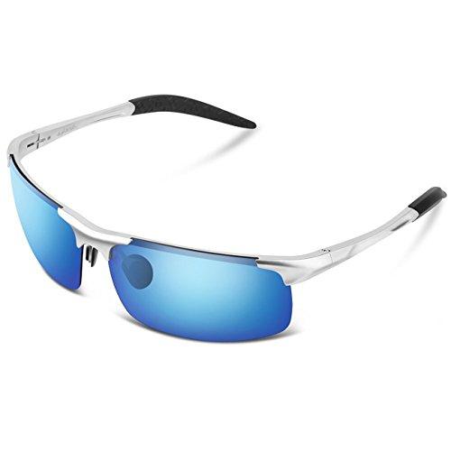 Sport Sonnenbrille Herren, Brille Sonnenbrille Sportbrille Polarisiert UV 400 (Blau)