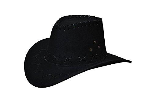 Schwarz Erwachsene Cowboy Hut (Cowboyhut Westernhut Cowgirl australien Texas Cowboy Hut Hüte Western für Erwachsene und Kinder (One size, schwarz für)
