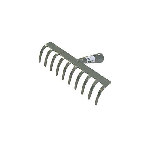 Xclou Garden Harke, Gartenrechen, Laubharke mit 10 Zinken, Erdrechen aus Stahl mit Pulverbeschichtung, ca. 24,5 cm, silber
