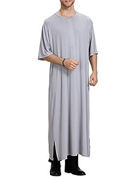 Camisa de Verano para Hombre con Cuello en V Vestido Abaya con Vestido Islámico de Arabia Saudita M-XL