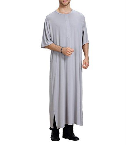 zhxinashu Camisa de Verano para Hombre con Cuello en V Vestido Abaya con Vestido Islámico de Arabia Saudita,Gris,L