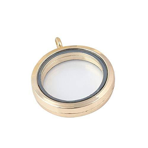 XNSZSN Damen runden geprägten Speicher Kästchen Halskette Anhänger Glasrahmen Damen Geschenk