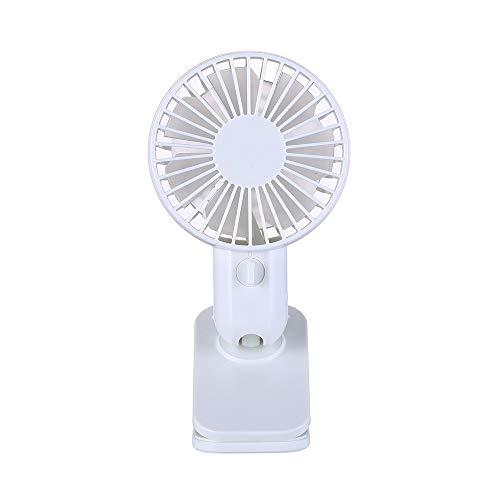 CAOQAO Typ Mini-USB-Clip Fan Fan Einstellbare Fan wiederaufladbare tragbare Windgeschwindigkeit 2 für Haus, Büro und die Reise, Spaziergang, Wandern, Camping, Weiss -
