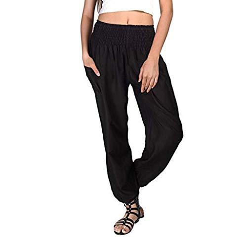 iYmitz Damen Hippie Haremshose Einfarbig Capri Thai Hose Leichte mit Taschen Dünn Boho Ethno Strand Sommerhose Yogahose(Schwarz,2XL) -