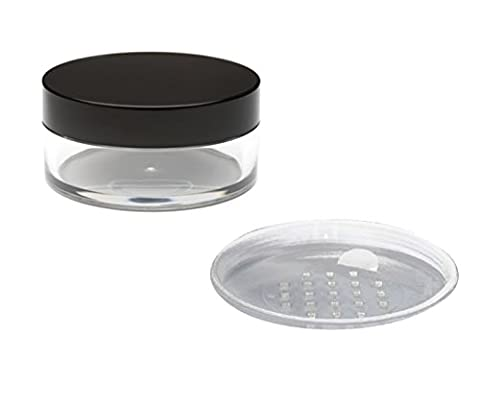 3x 20mL EMPTY PLASTIC JARS POTS with SIFTER & BLACK SCREW LIDS For Cosmetics/Powder/Mineral Make