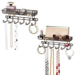 mDesign-Prctico-organizador-de-joyas-para-pared-Con-6-ganchos-y-2-compartimentos-Mueble-joyero-para-anillos-gafas-collares-pendientes-y-dems-accesorios–Joyero-con-ganchos–Color-bronce-Paquete-de-2