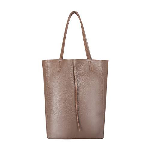 SKUTARI original Damen Leder Shopper Vittoria Taupe | Handtasche mit eingenhter Innentasche | Beut
