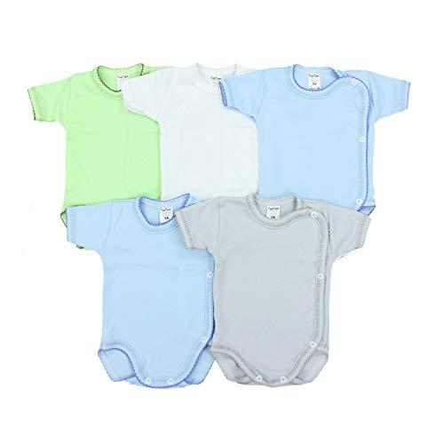 TupTam Unisex Baby Kurzarm Wickelbody Baumwolle 5er Pack, Farbe: Junge, Größe: 56