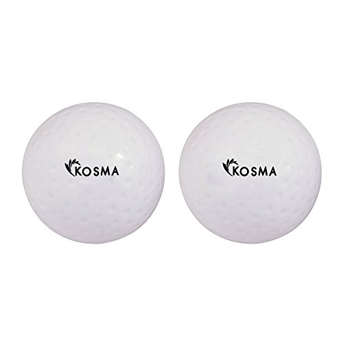 Kosma Set von 2PC Bohrmulden-Hockey Bälle | Outdoor Sports PVC Praxis Training Bälle, White dimple