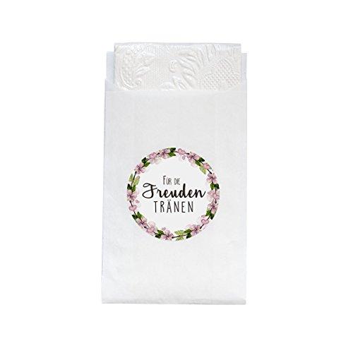 48 Geschenktüten weiß + 48 Sticker 'Freudentränen Blumenkranz'- Süße Minipapiertüten und Sticker im Vintage-Stil für die Hochzeit - Flachbeutel für Taschentücher