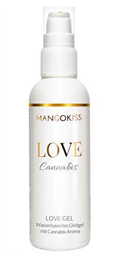 MangoKiss LOVE CANNABIS - Essbares Gleitgel mit Cannabis Geschmack - Veganes Gleitmittel auf Wasserbasis - kondomgeeignet, für Oralverkehr und Sex
