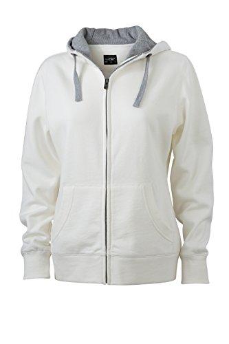 James & Nicholson Veste lifestyle Zip à Capuche Sport Sweatshirts Blanc cassé/gris