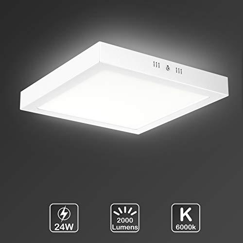 LED Deckenleuchte, Uchrolls LED Deckenlampe 24W Quadrat, Ersetzt 150W Glühbirne, 2000LM, Kaltweiß 6000K, 30 x 3.6cm, Metall Rahmen,Led Deckenleuchten Schlafzimmer Küche Wohnzimmer Lampe