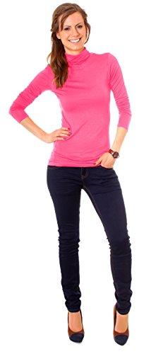 Easy Young Fashion Basic Damen Langarm Shirt Rollkragen One Size Pink