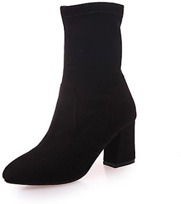 RTRY La Mujer Tacones Zapatos Formales Suede Caída Casual Parte &Amp; Traje De Noche Caminando Chunky Talón Negro...