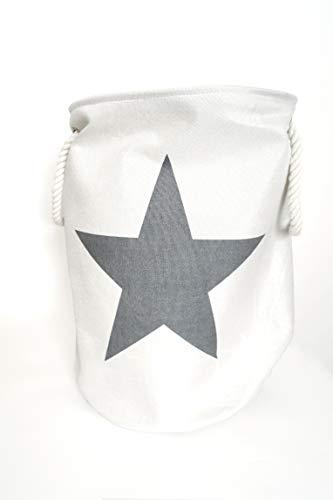 LS Design Wäschesammler Wäschetruhe Wäschesack Wäschekorb Star Sterne Weiss Silber Grau 54x38cm