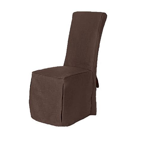 Chocolate Brown Linen Look Fabric Upholstered Slipcovers for Scroll Top Dining Chairs - 6 Pack