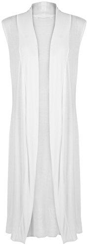 WearAll - Damen Lang Maxi Geöffnet Ärmellos Top Jacke Kragen Ebene Strickjacke - Weiß - 40-42 (Drapiertes, Ärmelloses Top)