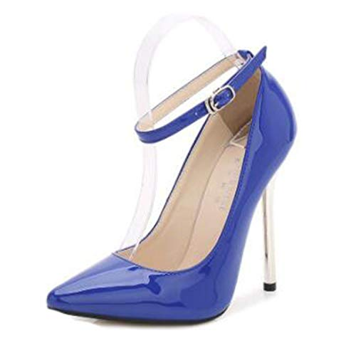New 13CM Metal Heel Model and Show Sexy Ankle Strap Pump Large Size High-Heeled Shoes Simple Fashion Women's Shoes Blue 5
