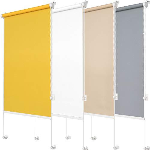 Klemmfix Rollo ohne Bohren Für Fenster, Kippfenster, Dachfenster & Balkontür Rollos für Fenster ohne bohren Fensterrollo für innen Lichtdurchlässig Sichtschutz | Premium Qualität (Gelb, 90 x 150 cm)