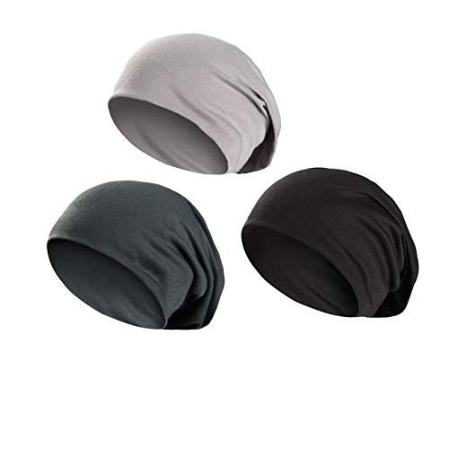 Wirezoll Winter Leicht und Weich Slouch Beanie Mütze für Damen, Herren, Jungen und Mädchen, Schwarz + Dunkel Grün + Grau, Einheitsgröße