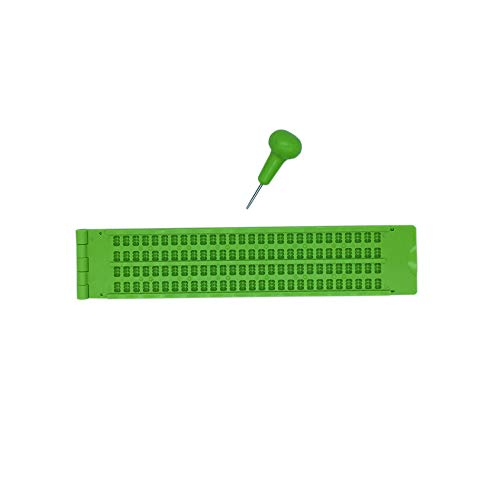 Brailletafel 4 Zeilen 28 Zeichen pro Zeil Braille Schreibtafel mit Griffel 2 stücke (Grün)
