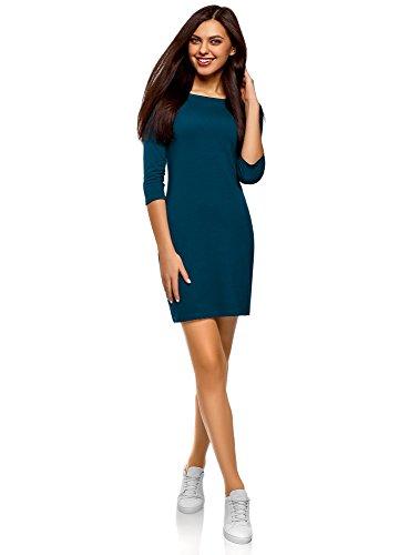 oodji Ultra Damen Baumwoll-Kleid Basic, Blau, DE 40 / EU 42 / L