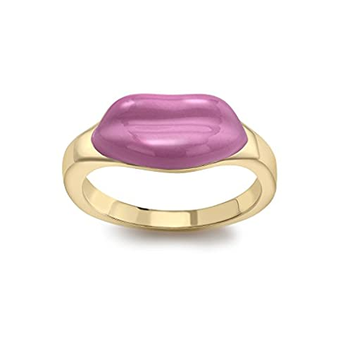 Alison Lou Women's 14ct Yellow Gold and Pink Enamel Lip Stack Ring - Size N