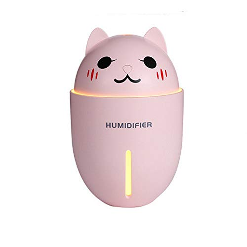Keliour-hom Umidificatore da scrivania Cat Pattern for Camera da Letto Home Office Car con Mini Fan Luce Notturna (Colore : Rosa, Dimensione : 134.8mmX93mmx93mm)
