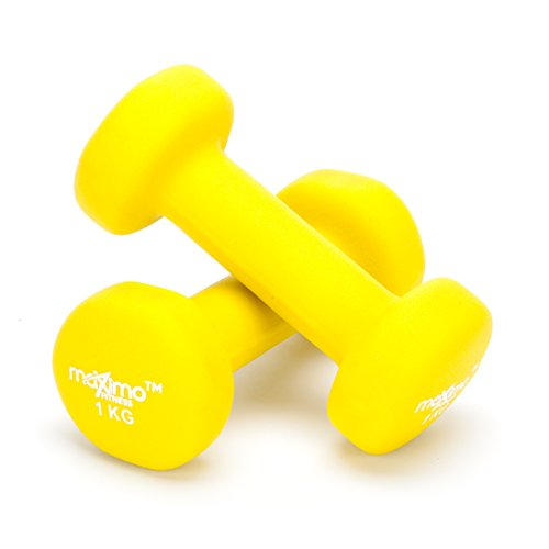 Maximo Fitness Neopren Hanteln Gewichte (Paar) - 0.5,1,2,3,4,5 KG (Yellow - 1kg x 2)