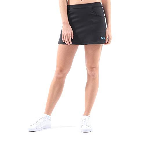 Sportkind Mädchen & Damen Tennis/Hockey/Golf Classic Rock mit Taschen & Innenhose, schwarz, Gr. 152