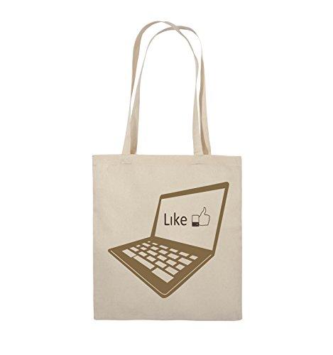 Comedy Bags - I like laptop - Jutebeutel - lange Henkel - 38x42cm - Farbe: Schwarz / Weiss-Neongrün Natural / Hellbraun-Dunkelbraun