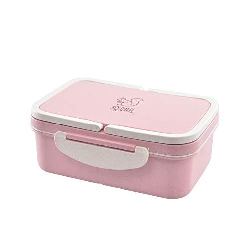 Seturrip - Lunchbox Weizenstroh Cartoon Bentobox Tragbare umweltfreundliche Lebensmittel Vorratsbehälter für Kinder Studenten Schule Microwavable [Rosa] (Planetbox-lunch-box)