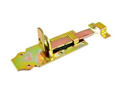 * Stabiler Türriegel gelb verzinkt | Schlossöse für Vorhängeschloss | mit Schlaufe | ca. 4,5 x 14,3 cm | Verriegelung Schloss Riegel Türsicherung
