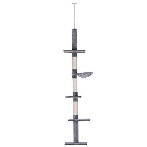 PawHut Kratzbaum Kletterbaum Spielbaum deckenhoch höhenverstellbar Katzenkratzturm für Katzen Holz + Sisal + Plüsch Grau 40 x 30 x (230-260) cm