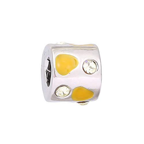 AKKi jewelry Charms Beads Gelb Zirkonia Anhänger Edelstahl Angebot Perle für bettel-Armband Bead Charm Silber Original Chrystal Strass kompatibel mit Pandora Style