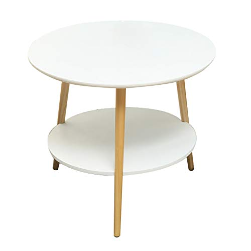 Wz Table D'appoint Bois, Blanche Jardin Table Deux Couches Simple Moderne Table Basse Canapé Consoles Ronde (Taille : 60X60X52cm)