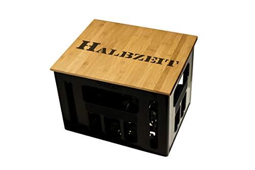 Geschenkidee Geburtstagsgeschenk Bierkastensitz Bierkistensitz Sitzauflage Bierkiste Bierkasten Sitz Hocker Bambus Handmade Hipster mit Motiv Halbzeit