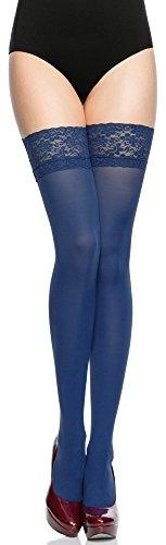 Merry Style Damen halterlose Mikrofaser 40 DEN Strümpfe mit Spitze (Jeans, 1/2 (32-38)) (Denim Spitze,)