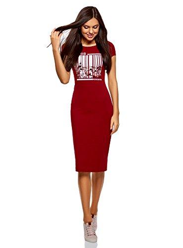 oodji Collection Damen Midi-Kleid mit Tiefem Ausschnitt am Rücken, Rot, DE 32 / EU 34 / XXS