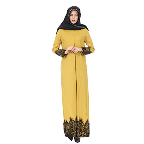 Likecrazy Muslimische Damenmode Langes Kleid Volle Schnalle National Style Lace Robes Frauen langärmelige High