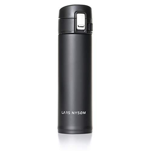 LARS NYSØM Thermoskanne Elements I 450ml Edelstahl Thermobecher mit Einhandverschluss I Kaffeebecher to go I Thermosflasche 100% BPA-Frei - 450 Thermoskanne