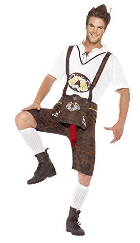 Smiffys, Herren Bratwurst Kostüm, Lederhose, Hemd und Hut, -