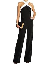 67bf34a7756c6 Ovender Tuta Elegante da Donna Pantaloni Lungo Jumpsuit Vestito Abito  Cerimonia Festa Casual